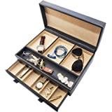Stock Your Home Luxury Men's Dresser Valet Organizer for Watches Jewelry & Accessories ? Large Jewelry Holder & Display Case - Faux Leather - Chocolate