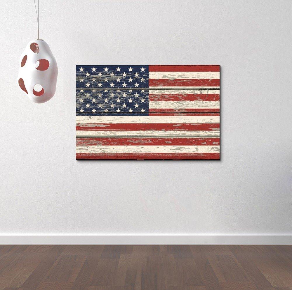 Canvas Flag Of Usa Stars And Stripes On Vintage Wood