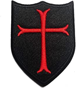 Custom Made 3 x 2 Inches Green, Black 1 of Hook and Loop Fastener Patch w Small Outlined Shield Crusader Cross Silhouette Design