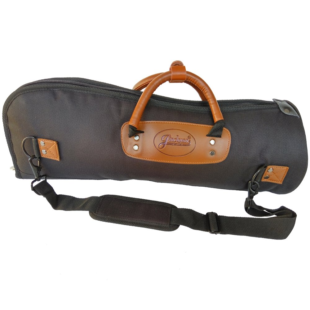 Xinlinke Professional Trumpet Gig Bag 1200D Water-resistant Oxford Cloth Soft Carrying Case 15mm Foam Cotton Padded with Adjustable Shoulder Strap