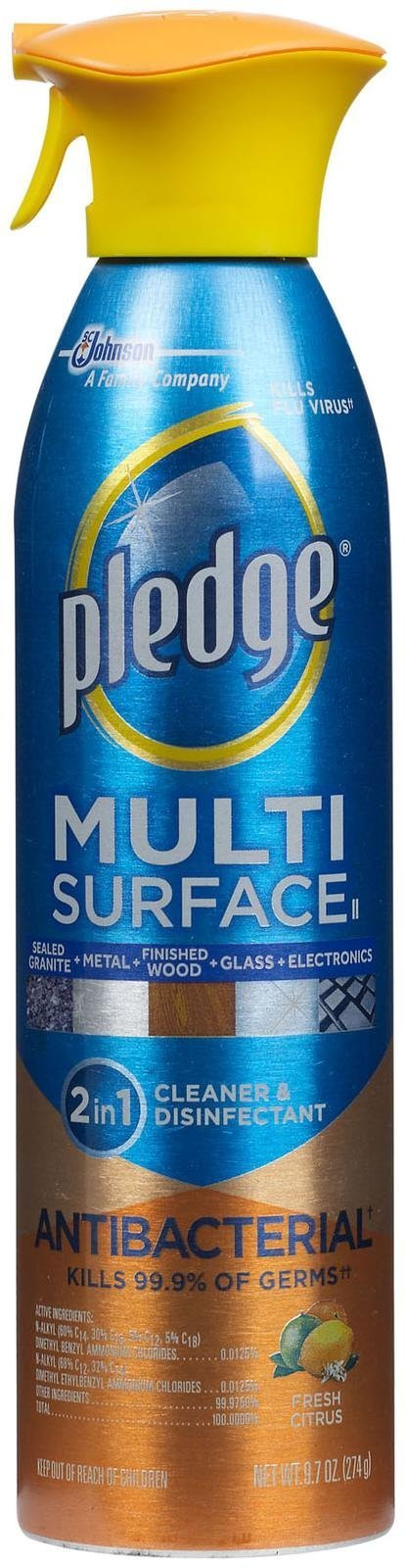 Pledge Multi Surface Antibacterial Everyday Cleaner - 9.7 oz - Fresh Citrus