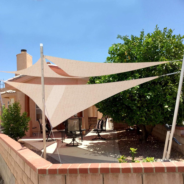 HOLISTAR Voile dombrage 2x2 m/ètres carr/é en HDPE Auvent pour Jardin terrasse Anti-UV Toile Solaire r/ésistant Beige