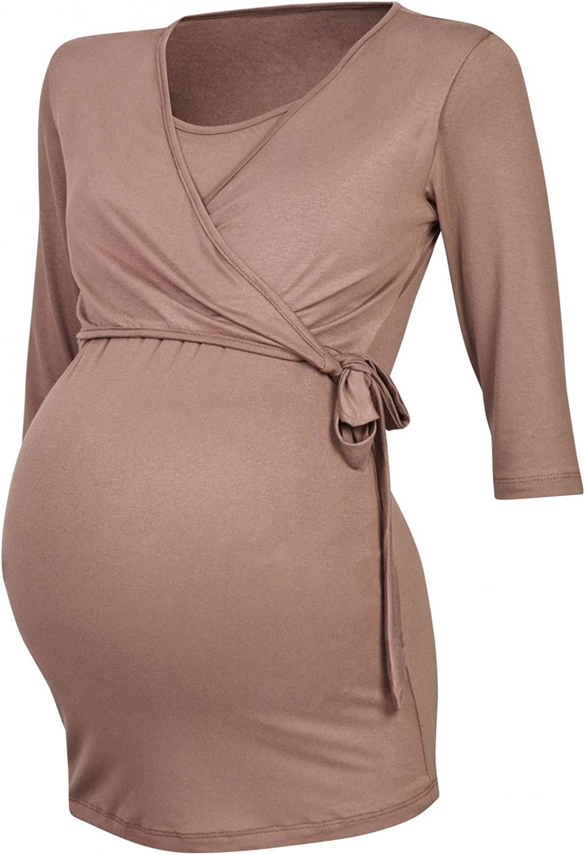 Happy Mama 458p Womens Maternity Nursing 2in1 Bolero Top Shirt 3//4 Sleeve