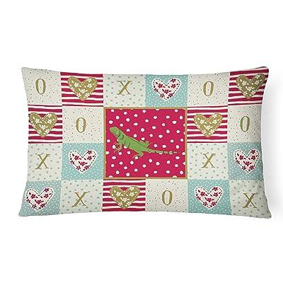 Caroline's Treasures CK5529PW1216 Iguana Canvas Fabric Decorative Pillow, 12H x16W, Multicolor : Garden & Outdoor