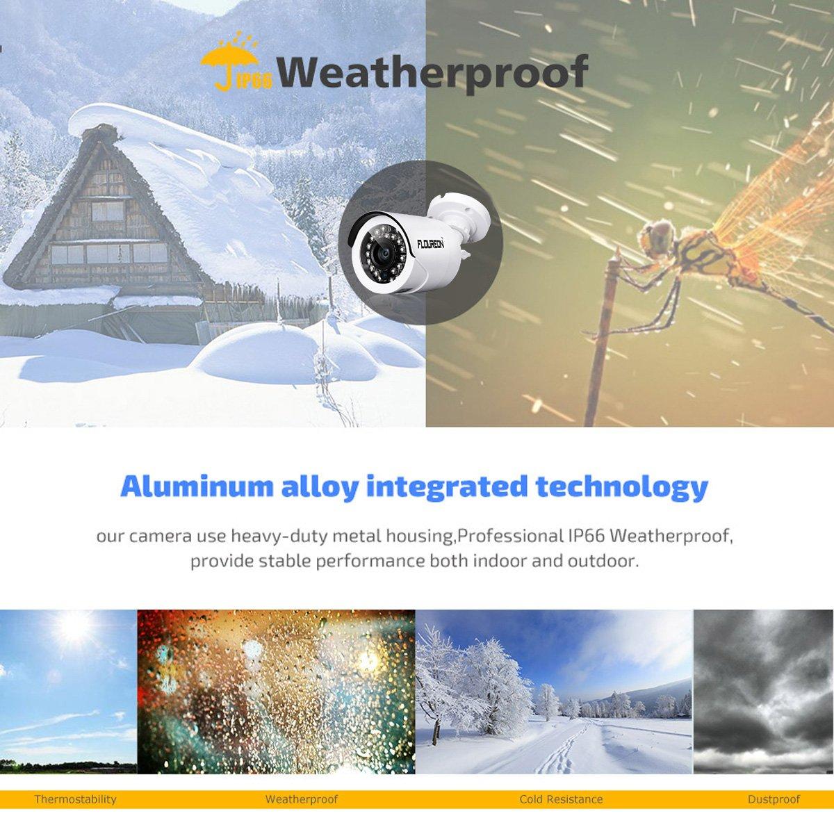 FLOUREON 2000TVL Überwachungskamera 1,3MP Outdoor Kamera Nachsicht für AHD 1080N DVR Videoüberwachung Wasserdicht Weiß