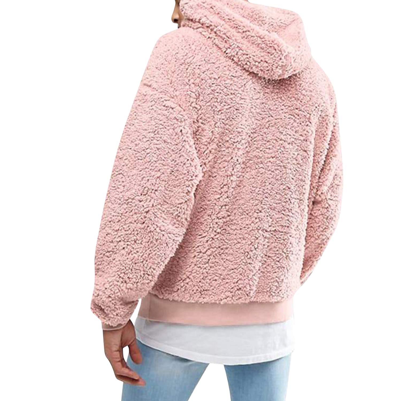 Katesid Mens Fuzzy Sherpa Pullover Hoodie Sweatshirts Long Sleeve Jackets Front Pocket Fall Outwear Winter Hooded