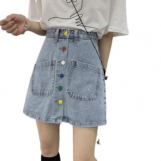 DER Ins Super-Fire - Falda de Jean para Mujer (versión Coreana de ...