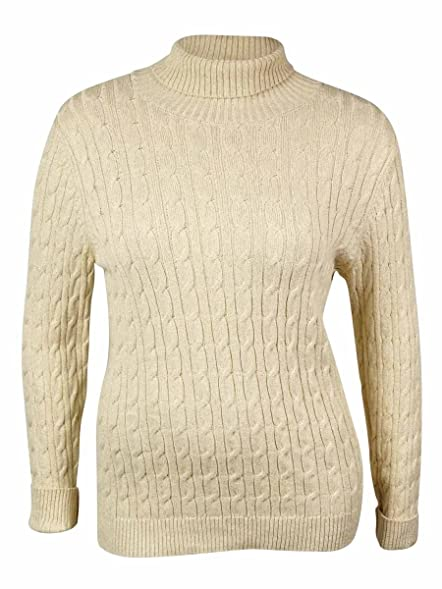 Charter Club Women's Cotton Cable Turtleneck Sweater at Amazon ...