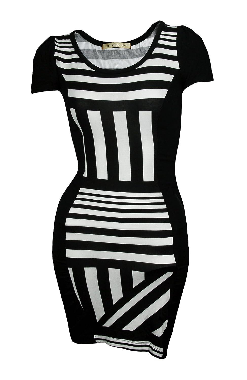Big Star Women's Short Sleeve Black and White Dress
