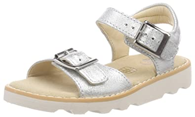 b737213ef8c49 Clarks Girls' Crown Bloom Ankle Strap Sandals, Silver Leather, 9.5 UK Child