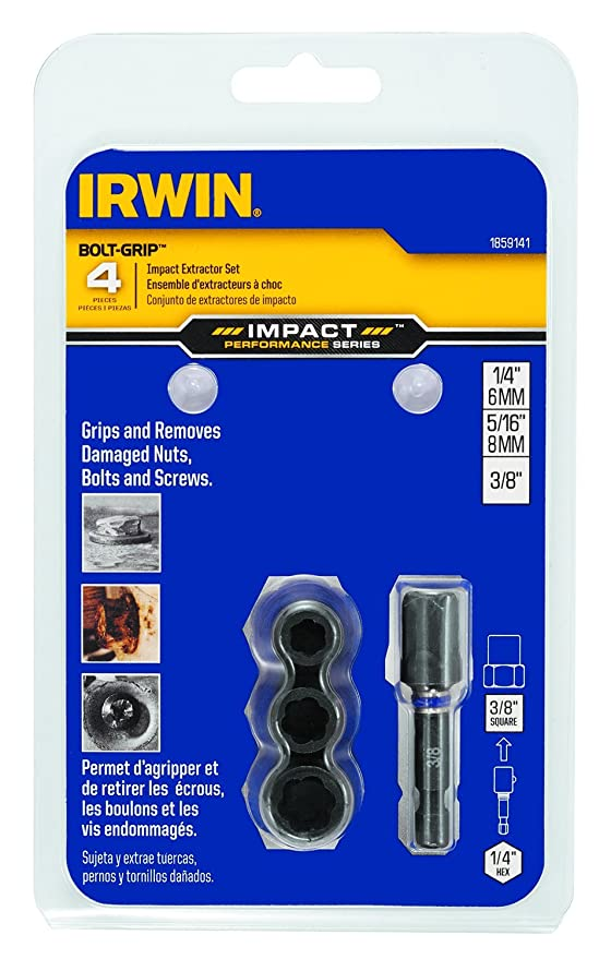 4-Piece IRWIN Tools 1859147 Impact Performance Series Bolt Grip Deep Well Bolt Extractor with 3//8-Inch Square Drive Set
