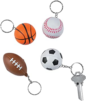 OTC Sports Ball Party Favor Soft Keychains - Football Baseball Soccer Basketball Assorted Designs - 12 Pieces