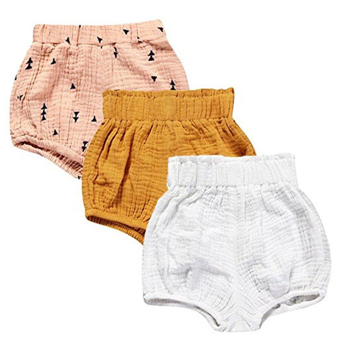FAIRYRAIN 3 Pack of Little Baby Girls Boys Cotton Linen Blend Cute Bloomer Shorts