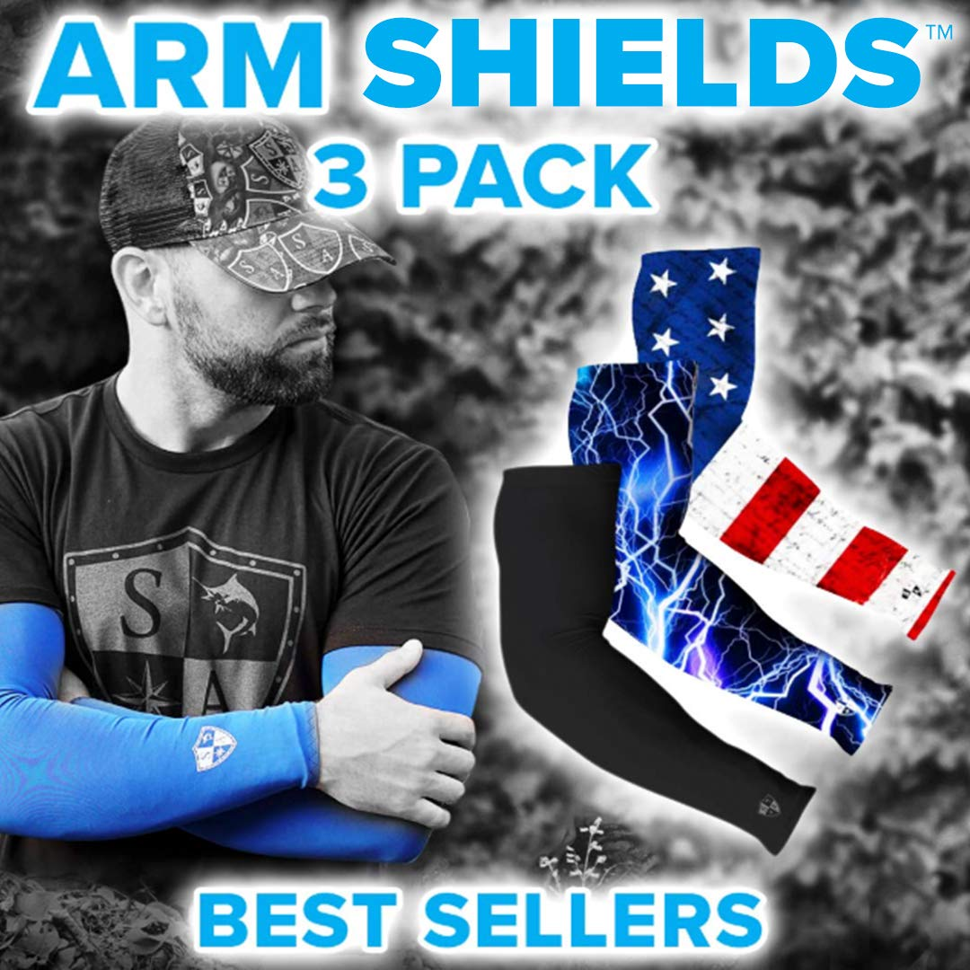 S A Arm Sleeves - 3 Pack Arm Shields American Flag, Black Small Shield, Blue Lightning Compression Arm Sleeves for Men, 3 Arm Sleeves