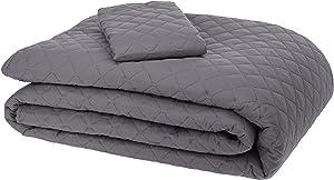 AmazonBasics Oversized Quilt Coverlet Bed Set - Twin, Dark Grey Diamond