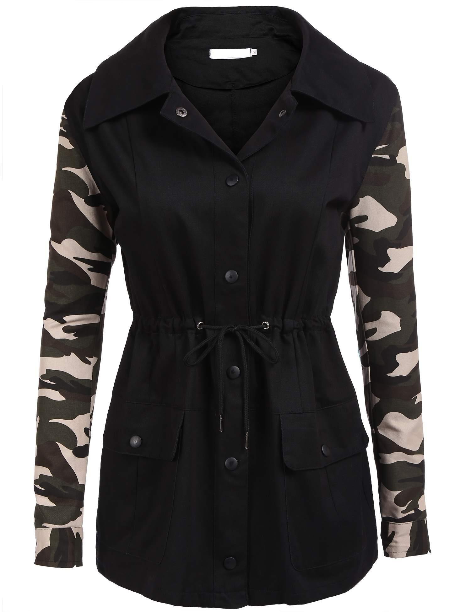 SoTeer Women's Military Camouflage Jacket Denim Camo Coats (Black, L)