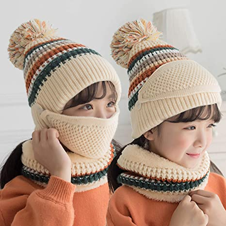 YOAVIP Girls Winter Knitted Beanie Hat with Pompom Mouth Mask Neck Warmer Fleece Lined Set of 3