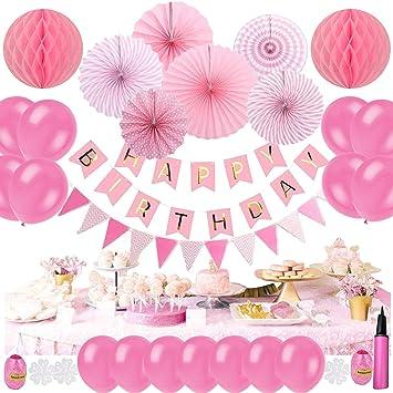 Amazon Tebrcon 誕生日 飾り セット 風船 ピンクインフレータブル