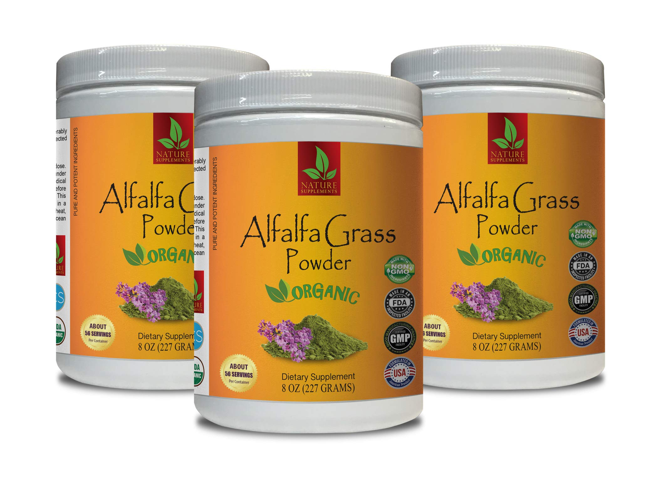 Blood Pressure Supplement Natural - Alfalfa Organic Grass Powder - Pure and Potent Ingredients - Digestion Advanced Formula - 3 Cans 24 OZ (168 Servings)