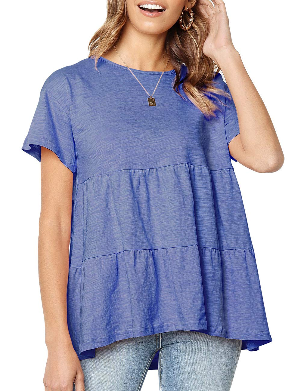 bluee Women's Short Sleeve Flounce Blouse Loose Solid Ruffle High Low Hem Tunic Top Casual Round Neck T Shirt (M, Pink)