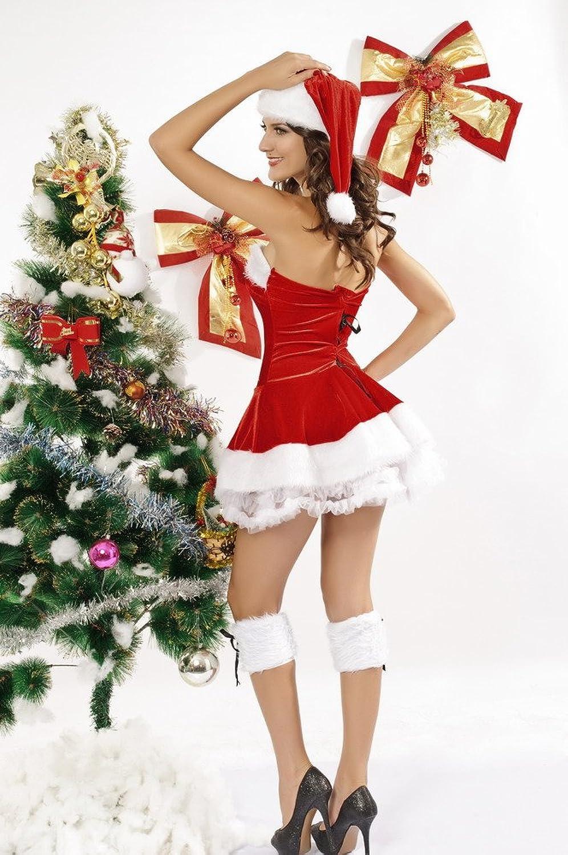 Women's New Sexy Santa 3 Piece Red Stretch Velvet Christmas Corset Set Mini Dress Fancy Dress Hen Party Onesize 8-12