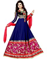 Fashion Dream Women's Georgette Semi Stitched Salwar Suit (fd_-Sainx Blue_Blue_Free Size)