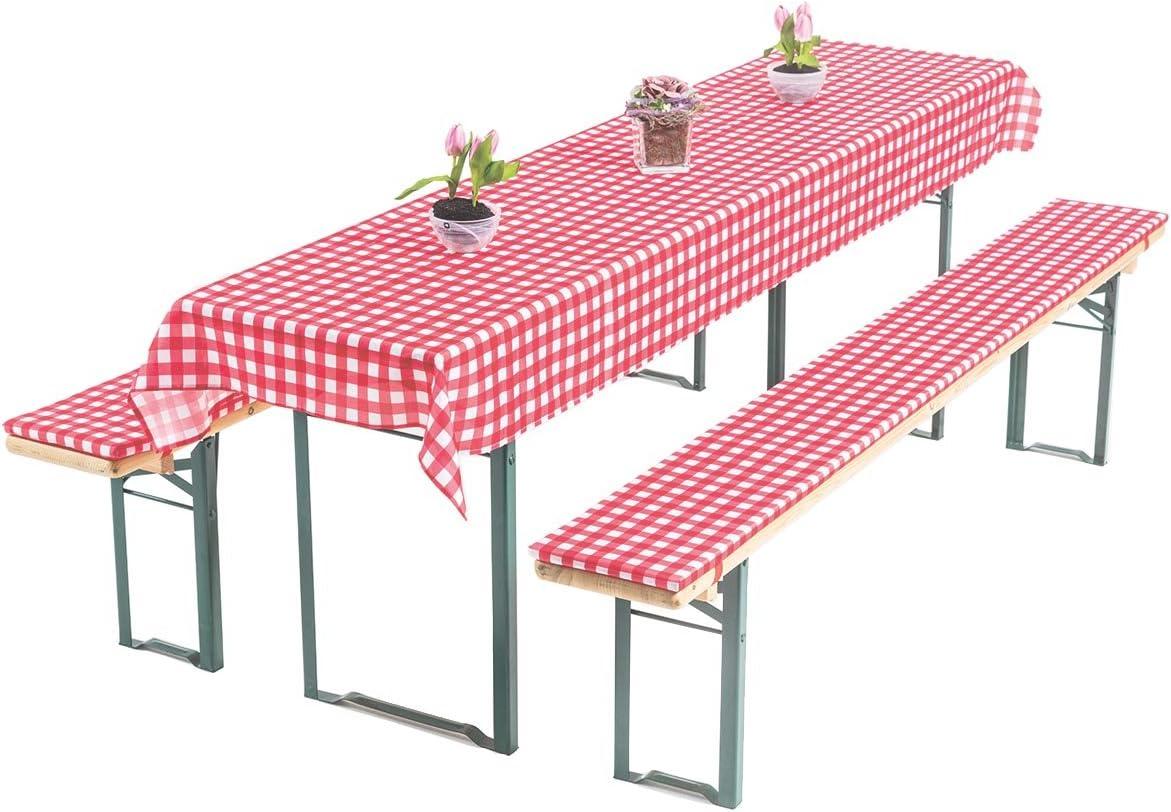 Gräfenstayn Annabelle Cerveza Mesa Set de 3 Piezas para jardín, - 70 cm o 50 cm - Ancho de Mesa con Öko-Tex Standard 100, Rojo/Blanco, 50 x 220 cm