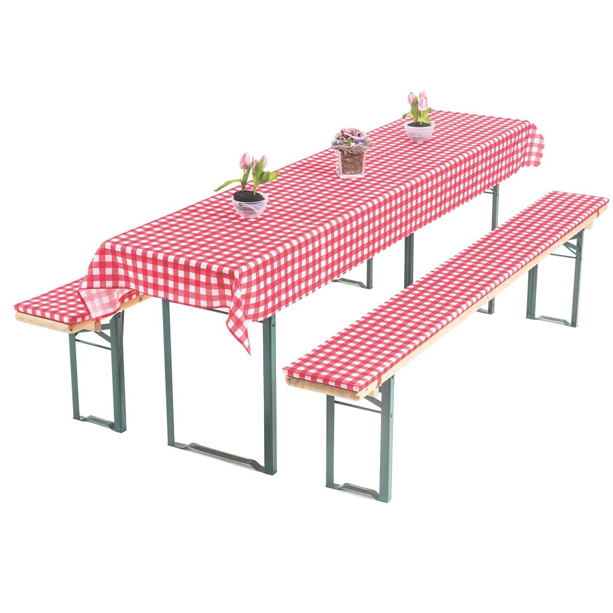 graefe stayn Annabelle birra tavolo di cuscini set 3pezzi per birra birreria–70cm o 50cm larghezza tavolo–Oeko-Tex Standard 100, rosso/bianco, 50 x 220 cm Torrex