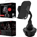 """Macally Cup Holder Phone Mount for Car - Adjustable Neck, Base, & Cradle with Quick Release Button - Fits Phones 1.7"""" to 4.1"""""""