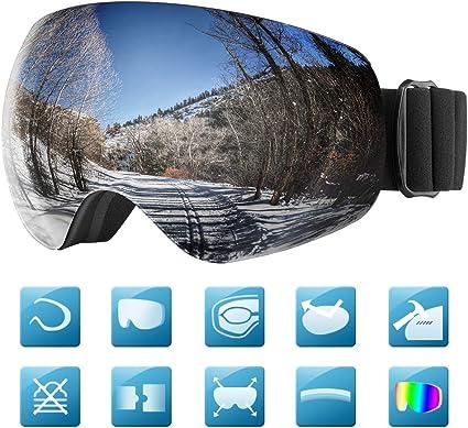 Skibrille Anti Fog Snowboard Brille Brillenträger Schneebrille für Damen Herren