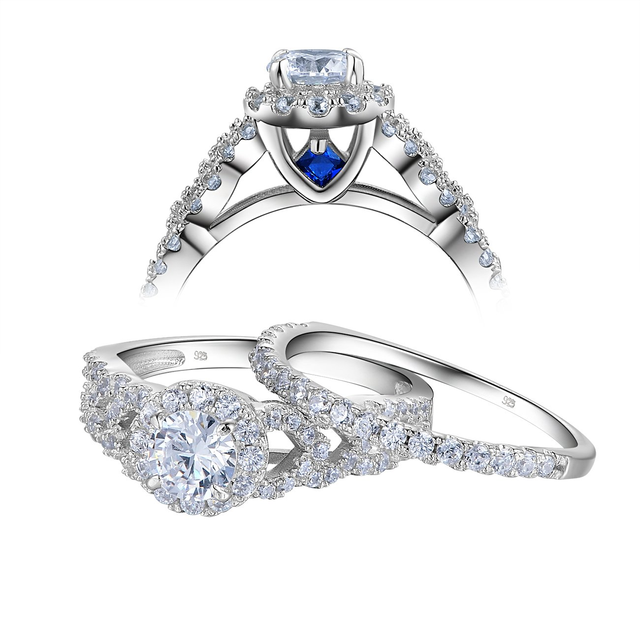 Newshe Round Halo White Cz Blue 925 Sterling Silver Wedding Engagement Ring Set Size 5-10 Newshe Jewellery JR5718_SS
