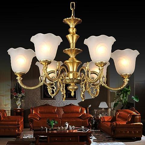 ht kupfer kronleuchter moderne schlafzimmer wohnzimmer lampen und anhnger glas kronleuchter luxurise reines kupfer haube - Bronze Kronleuchter