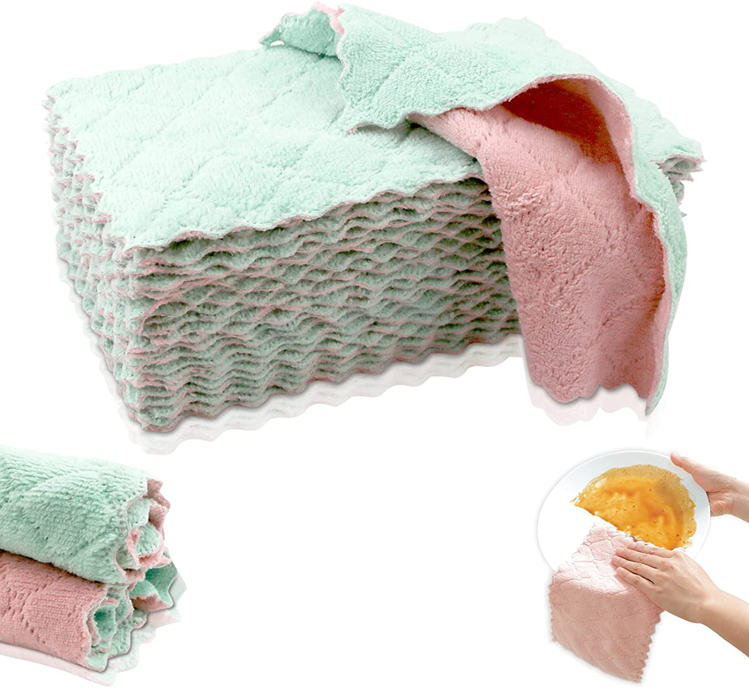 Oruuum 50 Pack Home Kitchen Dish Cloth Towels, Non-Sticky Oil and Non-Lint Dishwashing Cloth, Housework Fast Drying Cleaning Towel, Household Kitchen Supplies