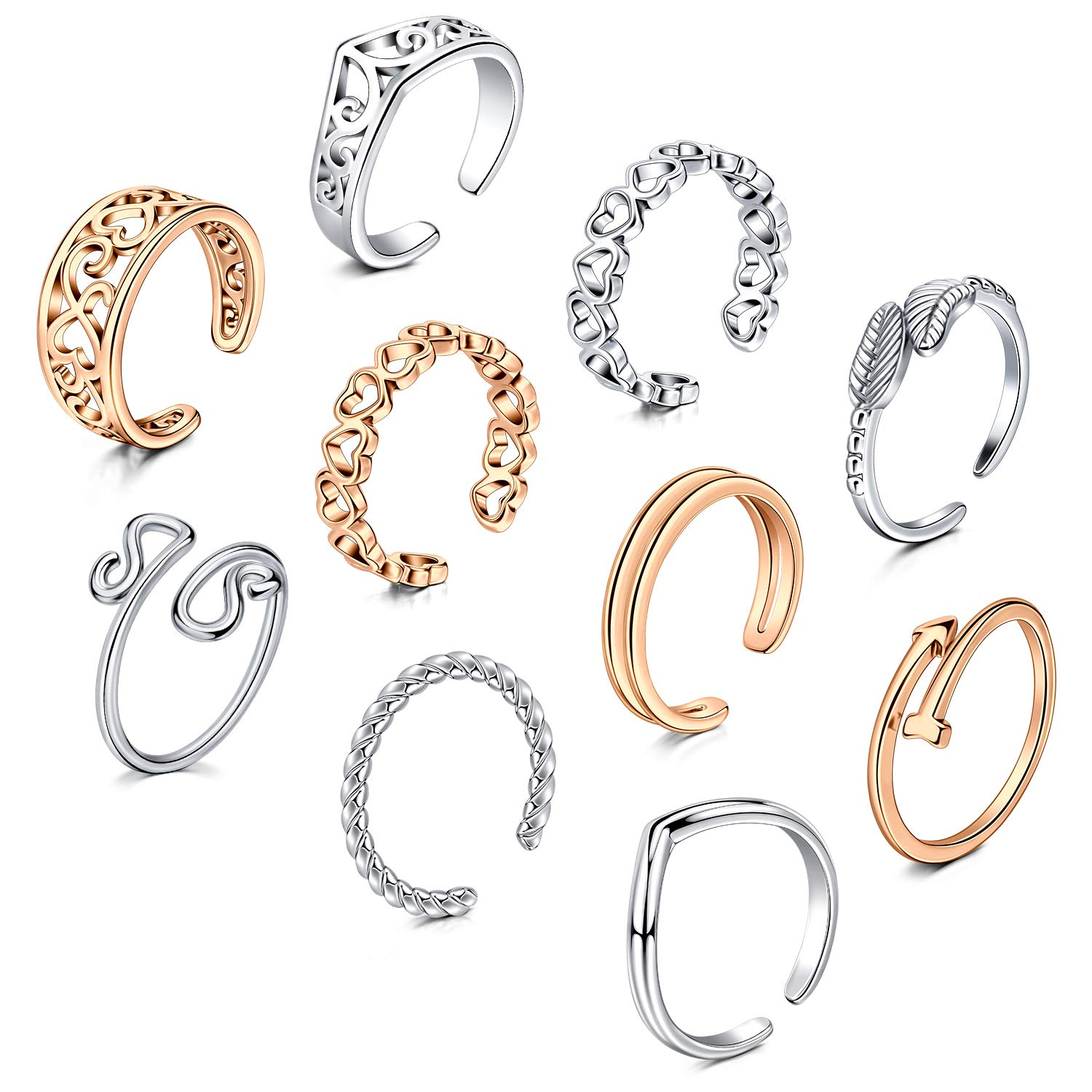 JFORYOU Open Toe Rings Set for Women 8-10 Pcs Hypoallergenic Adjustable Heart Leaf Arrow Style Fingers Joint Tail Ring Band Sandals Foot Jewelry