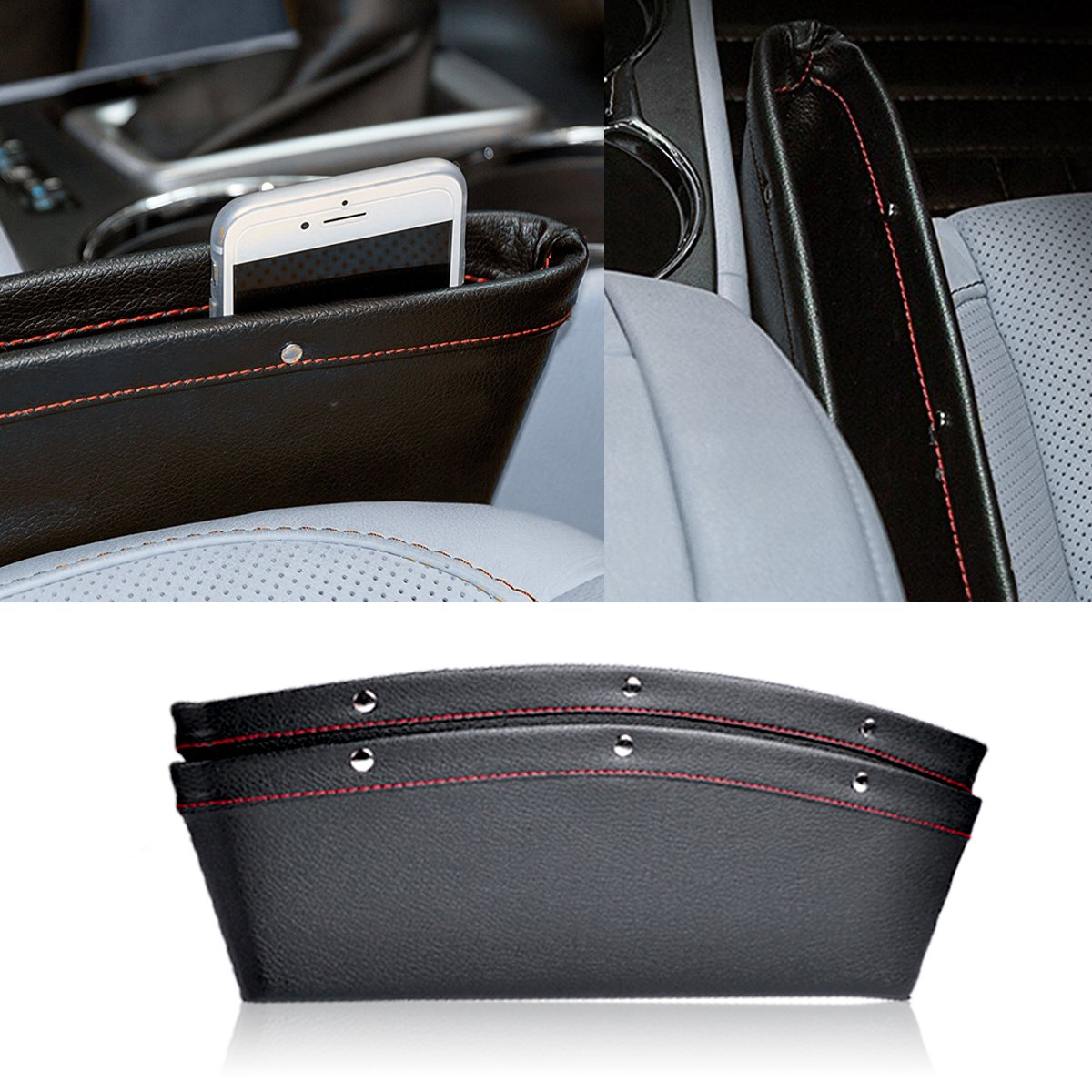 PU Leather Console Gap Filler for Cellphone Wallet Car Seat Caddy Catcher and Car Seat Console Organizer AutoEC Car Seat Gap Filler Eyeglasses and Keys Black,2 Pack