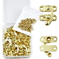 PGMJ 20 Pieces Thickened Solid Antique Right Latch Hook Hasp Horn Lock Wood Jewelry Box Latch Hook Clasp and 80 Screws…