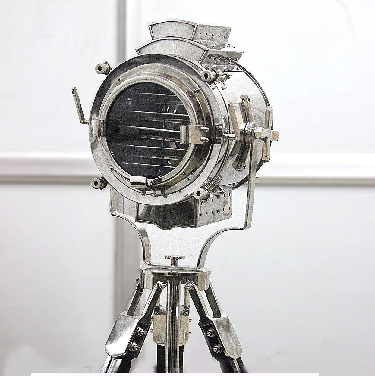 Vintage Modern Collectible Chrome Searchlight Home Black Screw Tripod Nautical Spotlights