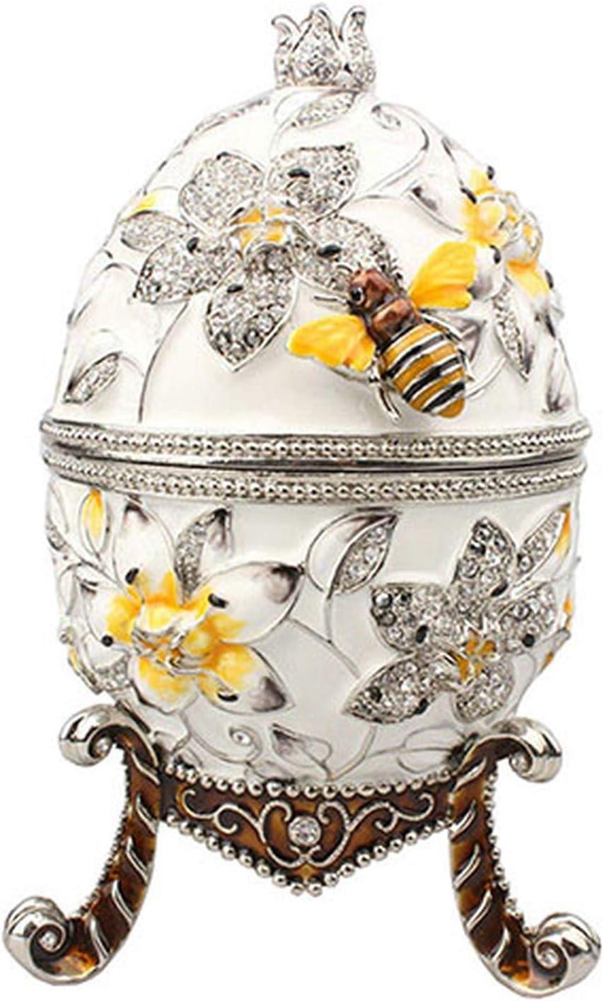 EyeMsea Big Faberge - Joyero con Forma de Huevo con Abeja, Caja de Metal Rusa para Anillos, Blanco, Size