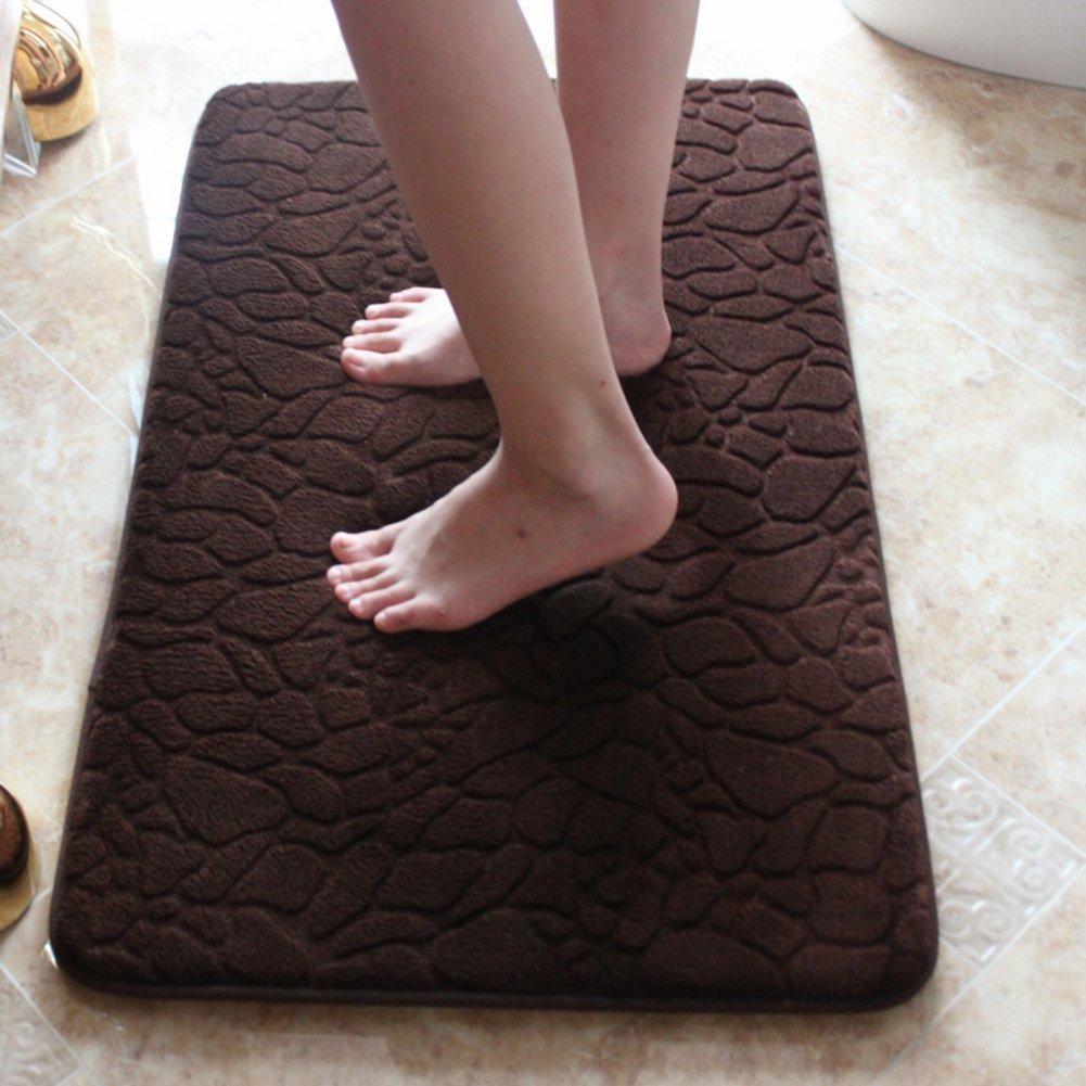 DXG&FX Bathroom water-absorption mat memory foam bath mat anti-slip suede foot mat-F 18x47inch