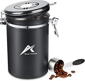 Coffee Canister, Stainless Steel Kitchen Food Storage Container with Airtight Lids, 22 oz, Black