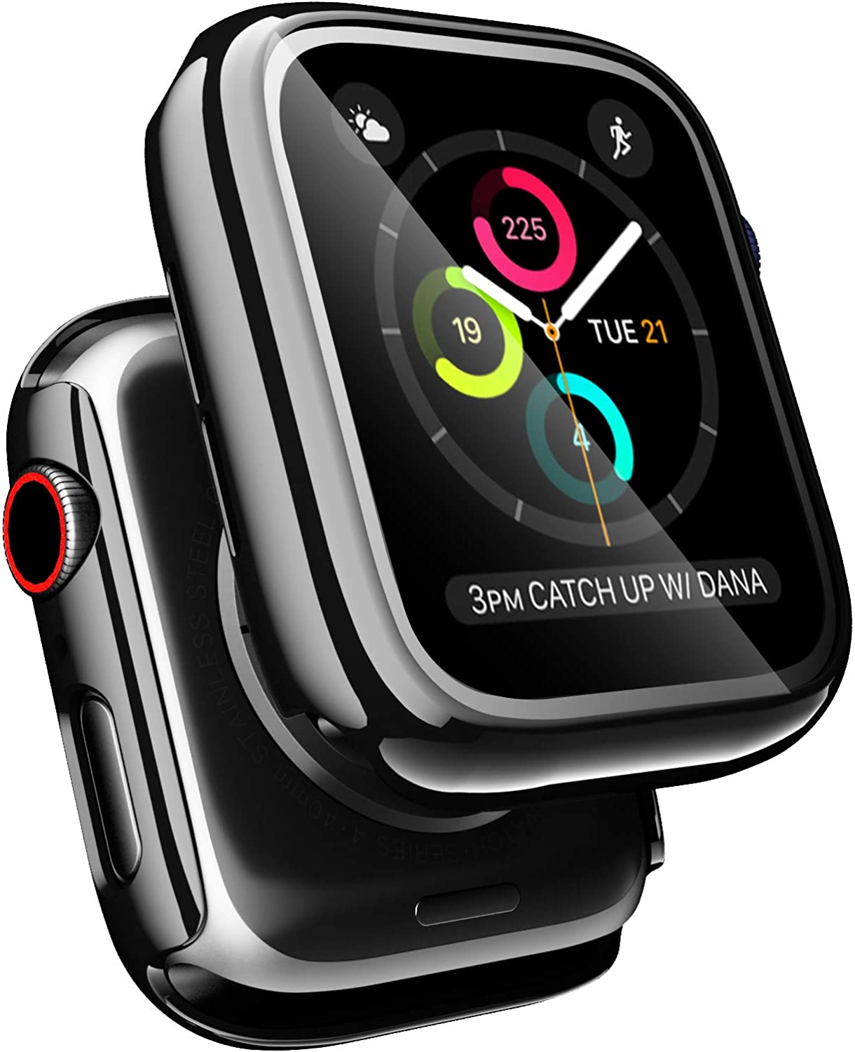 [2 Pack] Anwaut Case for Apple Watch Series 6/SE/5/4 44mm 40mm Screen Protector, Full Defense Coverage with Tempered Glass Screen Protector Cover for Women Men