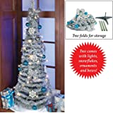 pre lit frosted glitter ornaments pull up folding lighted christmas holiday tree - Pull Up Christmas Tree