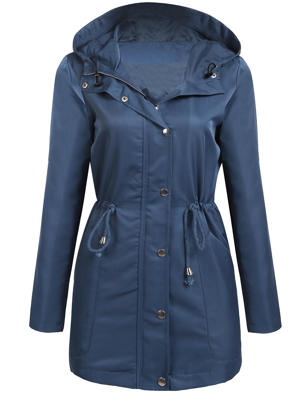 UNibelle Women's Anorak Jacket Lightweight Drawstring Hooded Military Parka Coat