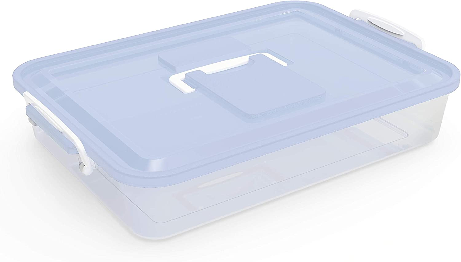 Chef Pomodoro Dough Proofing Box, 14 x 11-Inch, Fit 4-6 Dough Balls, Household Pizza Dough Tray Kit (Blue)