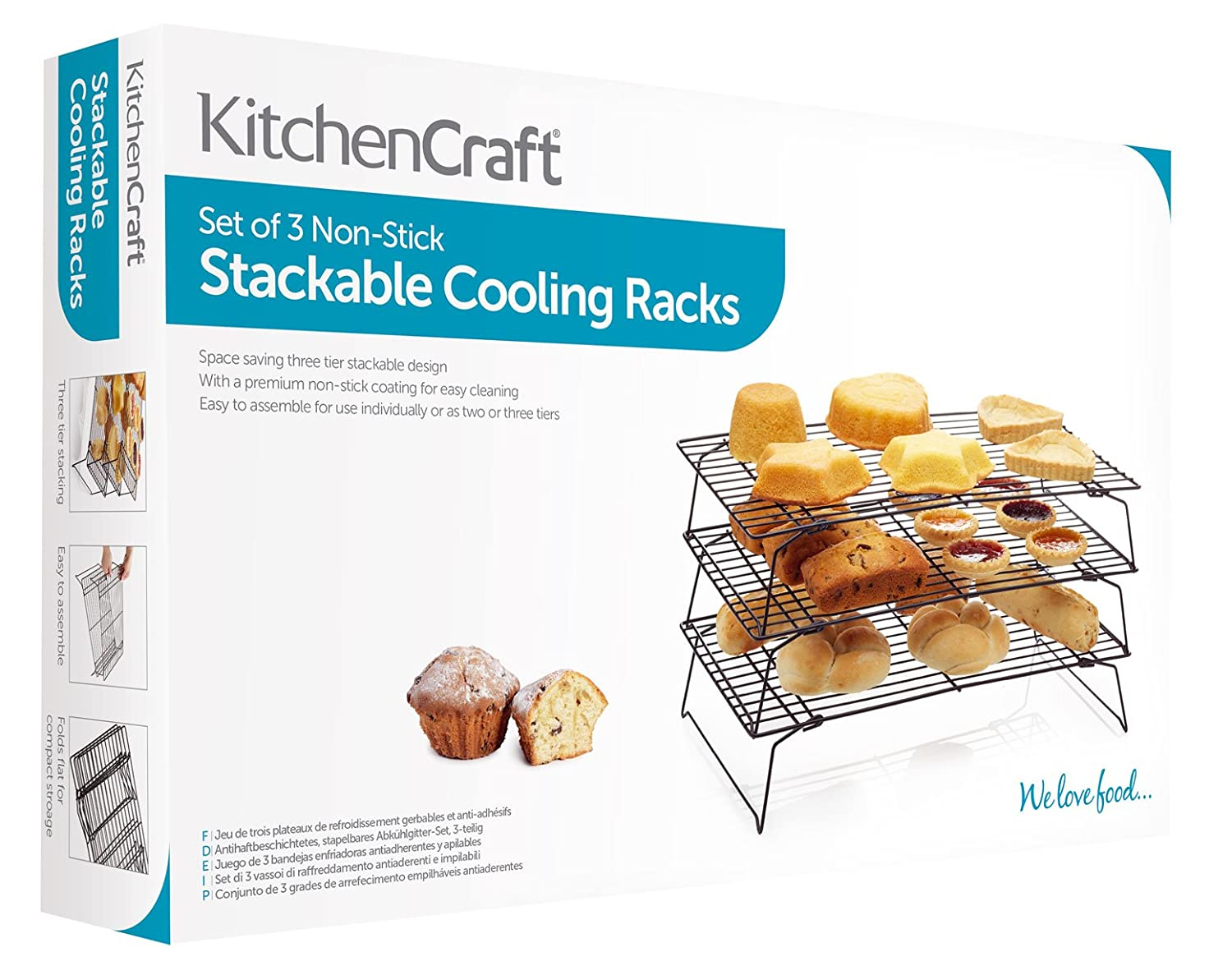 Amazon.com: Kitchen Craft Non-Stick Three Tier Cooling Rack: Kitchen & Dining