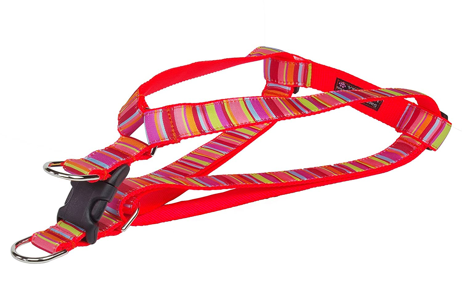 Lime Coral Large Lime Coral Large Sassy Dog Wear 1  x 23 -35  Stripe Dog Harness, Large, Lime Coral