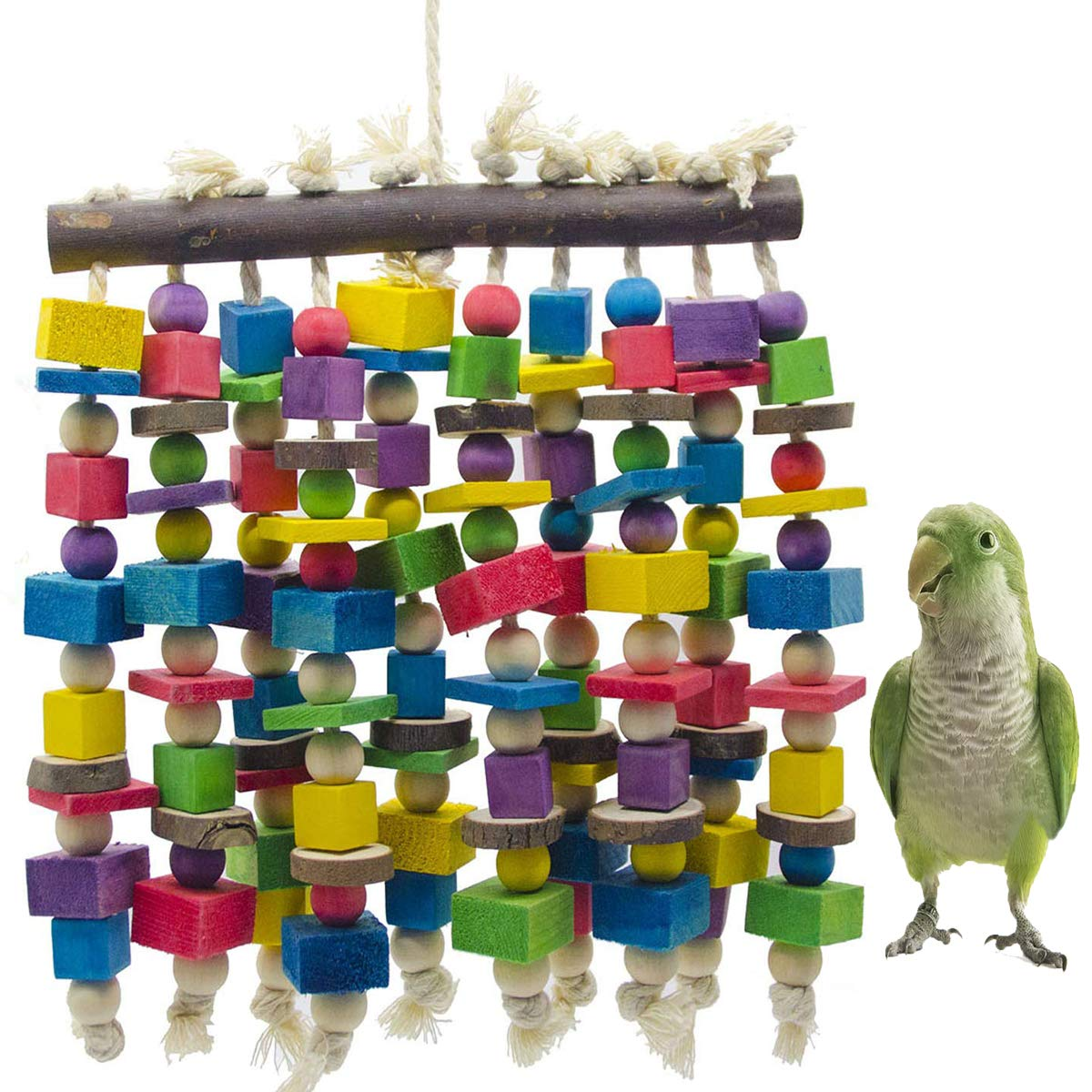 MQ Bird Chewing Toys Parrot Bite Toy Wooden Block Multicolor Beads for Lovebirds Small and Medium Parrots and Birds by MQ