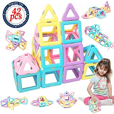 HLAOLA Magnetic Blocks Upgrade Magnetic Building Blocks Magnetic Tiles Educational Toys Tiles Set for Kids Magnet Stacking Toys for Kids Children Age 3 4 5 6 7 Year Old (Expansion Package )-42 PCS: Toys & Games