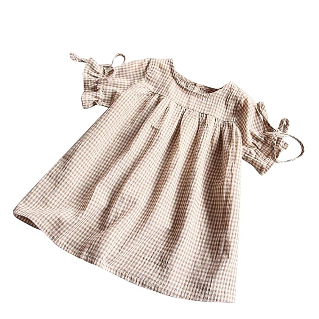Muxika Summer Toddler Kids Baby Girl Bowknot Plaid Tops Party Princess Mini Dresses MU-66