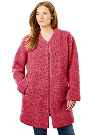 c4f1760ab75 Woman Within Plus Size Fluffy Fleece Long Coat at Amazon Women s ...